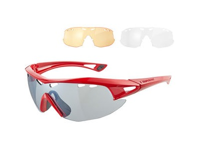 MADISON Recon glasses 3 lens pack - gloss red / silver mirror, amber & clear lenses