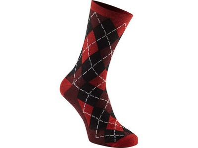 MADISON Assynt merino long sock, chilli red argyle