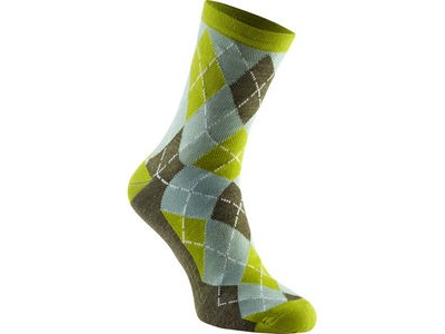 MADISON Assynt merino mid sock, krypton lime argyle