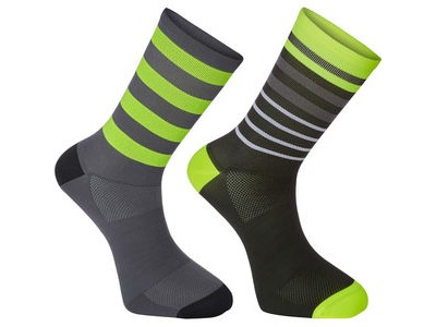 MADISON Sportive long sock twin pack, multi hoop black/hi-viz yellow