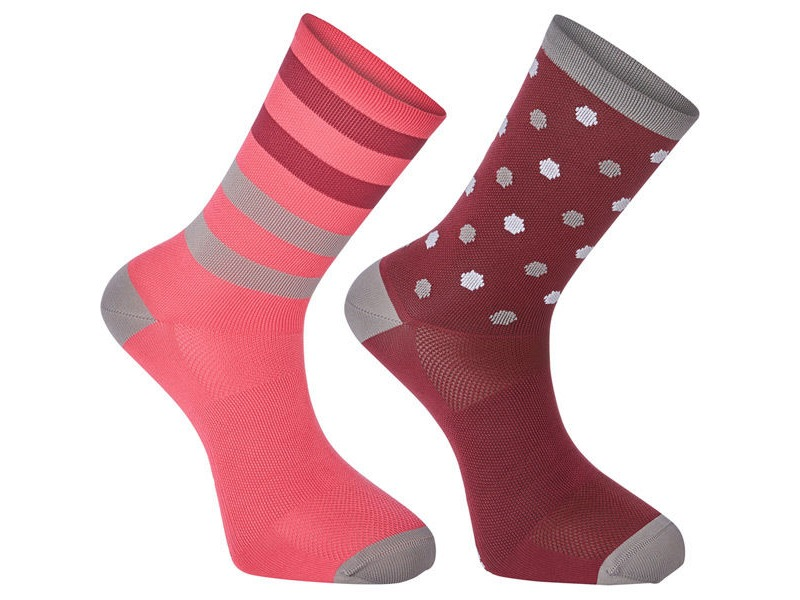 MADISON Sportive long sock twin pack, hex dots classy burgundy/berry click to zoom image